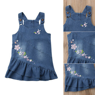 Summer Floral Baby Kids Girl Toddler Denim Jeans Overalls Dress Skirt Clothes AU