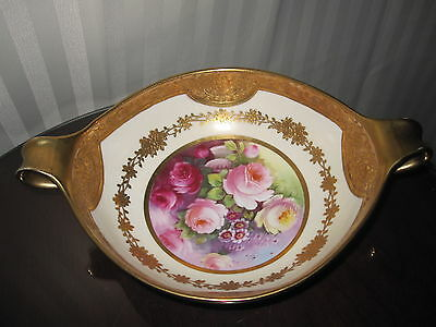 Stunning Antique Nippon Double Handled Bowl-Flowers And Gold Gilt