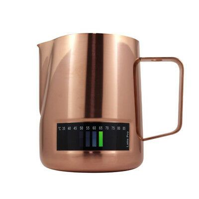 Milk Frothing Jug 600ml In-Built Thermometer Latte Pro Copper Coffee Steam