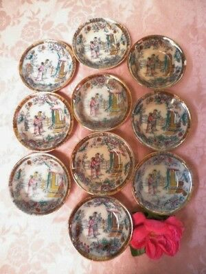 Antique Butter Pats X10 Gildea & Walker C1881-85 Chinoiserie Pagoda Small Bowls