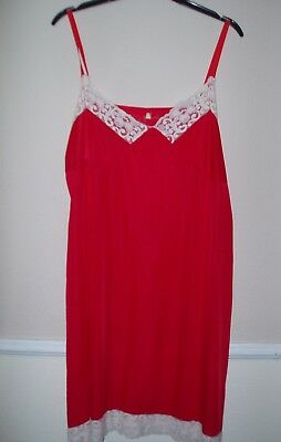 Full Underskirt Size 16 Slips Red Womens Ladies Chemise Petticoats Vintage Used