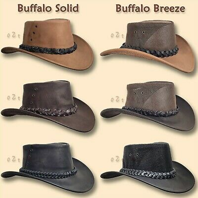 ●oZtrALa● Hat BRUMBY Buffalo Leather Australian  Mens Akubra-type COWBOY Outback