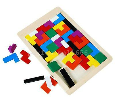 Children Kids Wooden Toys Brain Teaser Tetris Puzzle Game Tangram Blocks Toy new