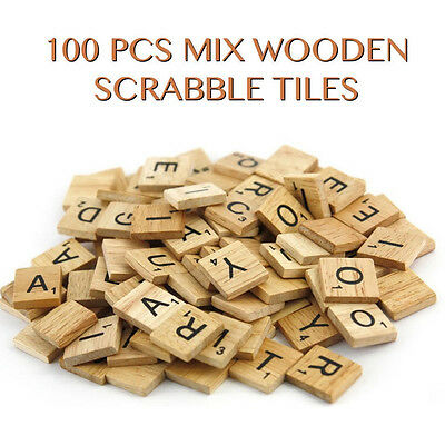 100 Wooden Mix Scrabble Tiles Black Letters Numbers Crafts Wood Alphabets UK