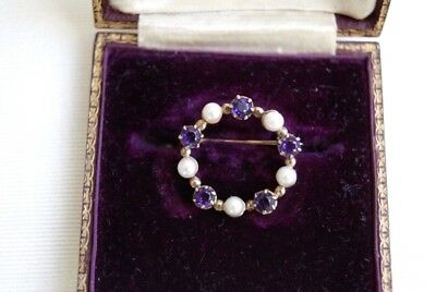 Fine Vintage 9 Carat Gold 0.50 Ct Amethyst & Cultured Pearl Wreath Brooch Pin