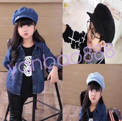 Kids Korean British letters cap Baseball Cap Painter Beret Hat Newsboy hat