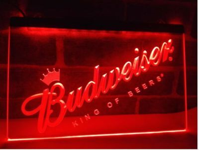 Budweiser King Beers LED Neon Light Sign Bar Club Pub Advertise Decor Home Gift