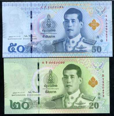 Thailand Set 2 Unc 20 50 Baht 2018 King Rama X New Design