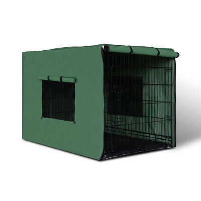"""48"""" Foldable Metal Dog Cage with Cover Green"""