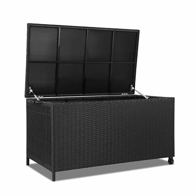 320L Sturdy Outdoor Wicker Storage Box - Black-302699236693