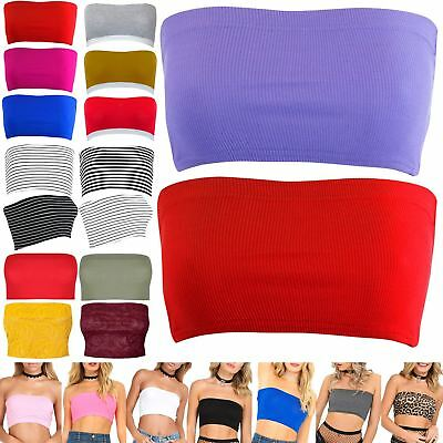 5e41cd86ab Womens Plain BoobTube Strapless Bandeau Ribbed Stretch Vest Bra Ladies Crop  Top
