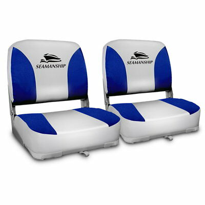 Seamanship Set of 2 Folding Swivel Boat Seats - Grey & Blue - DZ-4291