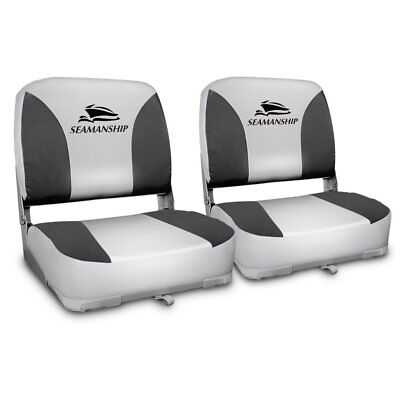 Set of 2 Swivel Folding Boat Seats - Grey-302699255593