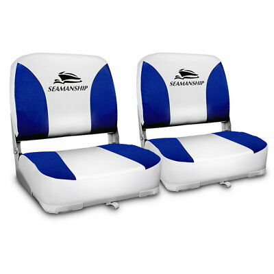 Set of 2 Swivel Folding Boat Seats - White & Blue-302699255617