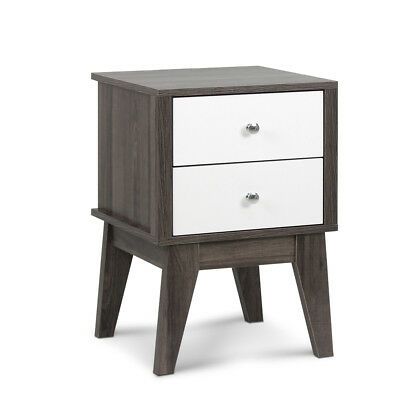 Bedside Table with Drawers - White & Dark Grey -302699255940