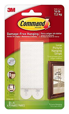 3M Command Picture Frame Photo Poster Canvas Hanging Sticker Strips - Large