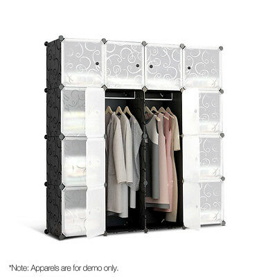 16 Stackable Cube Storage Cabinet - Black & White-302699262610
