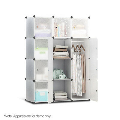 12 Stackable Cube Storage Cabinet - White-302699262638