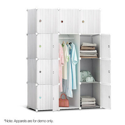 12 Stackable Cube Storage Cabinet - White-302699262786