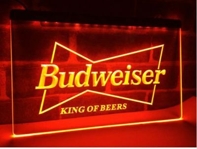 Budweiser King of Beers Drink LED Neon Light Sign Plate Flag Bar Club Pub Logo