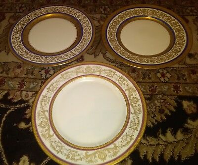 "RARE Warrin gold trim embellished 11"" Dinner Plates SET OF 3 UNIQUE plates"