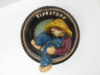 Firestone Tires Boy In Tire Chalkware Wall Hanging Vintage Free S/H