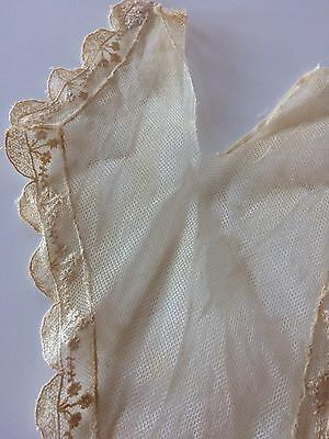 Antique Vtg Lace Net Fragment Victorian Edwardian French Doll Bonnet Sew Blythe