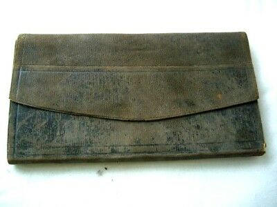 Vintage Wallet Document Holder Black Distressed thin Leather