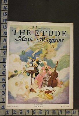 1929 Music Instrument Apotheosis Angel Cello Flute Violin Woodwind Cover Rj53