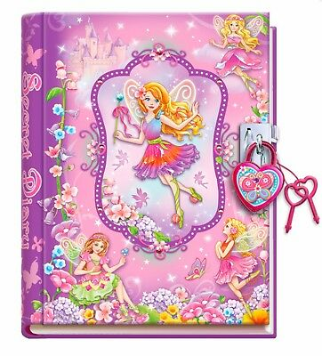 Girls Childrens Fairy Pink/Purple Lockable Diary with Lock & Keys- Journal Gift