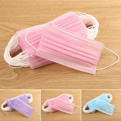 US 50X Disposable Surgical Face Salon Dust Ear Loop Medical Mouth Flu Mask Pink