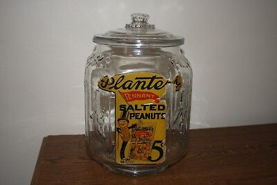RARE Vintage Pennant Planters Peanuts Glass Jar Store Display With Label 5 Cent