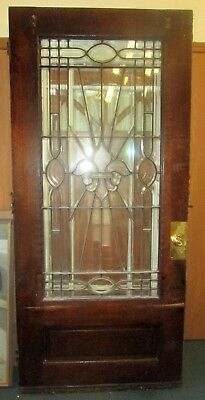 "OUR STORE CLOSING ! ANTIQUE EXTERIOR 40 x 89"" OAK DOOR W/109 BEVELED GLASS PANES"