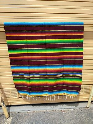SERAPE XXL,5'X7', Mexican blanket, HOT ROD, Seat covers,MOTORCYCLE ,BURGUNDY MIX