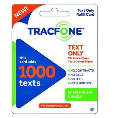 Tracfone 1000 Text Message PIN Refill Smartphones ONLY Same Day Email Delivery