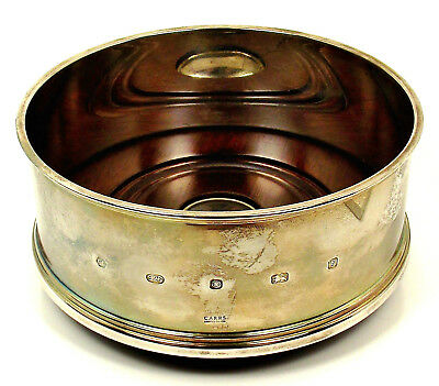 """5"""" Sterling Silver CARRS SHEFFIELD Turned Wood Champagne Wine BOTTLE COASTER"""