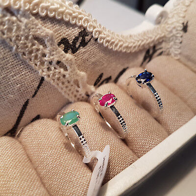 Set of 3 gemstone rings in Sterling Silver Sapphire,Emerald & Ruby