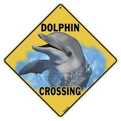 "DOLPHIN Crossing Sign, 12"" on sides, 16"" on diagonal, Indoor/Outdoor Use"
