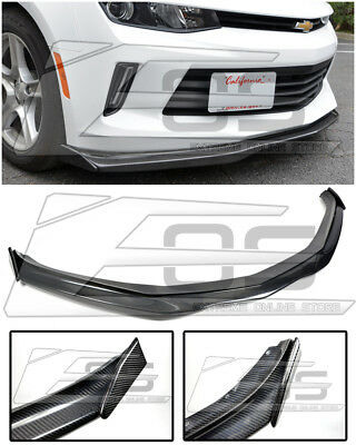 For 16-Up Camaro RS EOS T6 Style CARBON FIBER Front Bumper Lip W/ Side End Caps