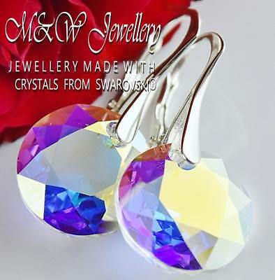 925 Sterling Silver Earrings *Classic Cut* Crystal Ab Crystals From Swarovski®