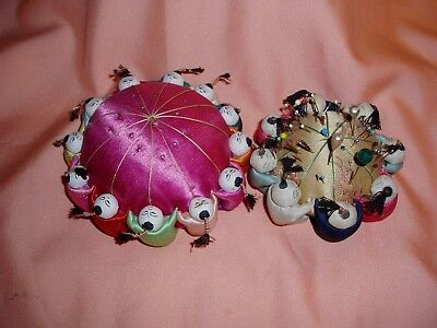 Great 2 Piece Lot of CHINESE PIN CUSHIONS with Hatpins, etc Small One is Vintage