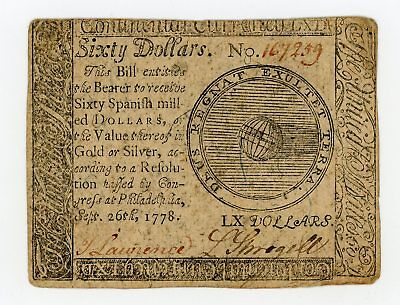 (CC-86) Sept. 26th, 1778 $60 Continental Currency Note