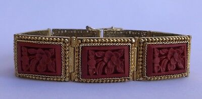 Antique Old Chinese Red Cinnabar Lacquer Gilt Silver Carved Panel Bracelet