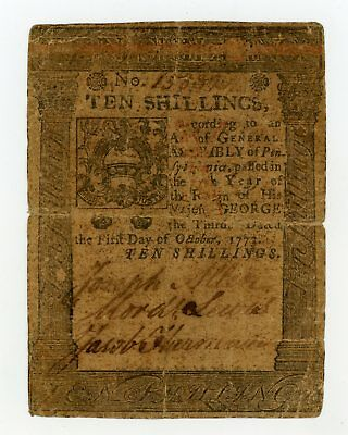 (PA-167) October 1st, 1773 10 Shillings PENNSYLVANIA Colonial Currency Note