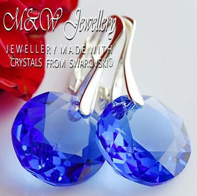 925 Silver Earrings Crystals From Swarovski® 14Mm *Classic Cut* Sapphire