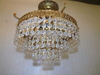 Antique Gold Gilded French Brass Crystal chandelier wedding cake crystal prisms