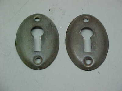 Pair Of Brass Look Steel Vintage Oval Escutcheons Keyhole Key Hole Covers
