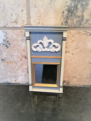 Dollhouse Miniature Handmade French Style Trumeau Mirror 1:12 Scale Gray & Cream