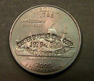 Scarce 2000 U.S. Virginia Quarter with Willoughby Ohio Counterstamp Coin