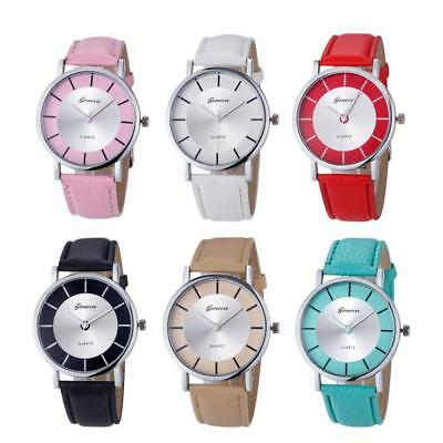 Women Casual Watches Big Dial Leather Stainless Steel Analog Quartz Wrist Watch